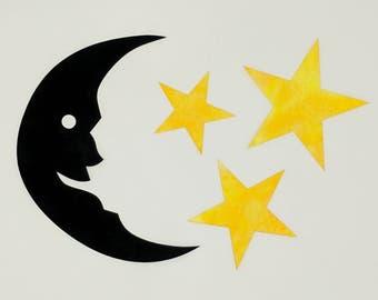 Mr. Moon and Stars Laser Cut Applique set, Smiling Moon, Black Moon and Yellow Stars, Applique Moon, Applique stars, batik