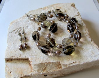 Large Natural Smoky Quartz Crystal and Freshwater Pearl Necklace and Earrings Set Sterling Silver
