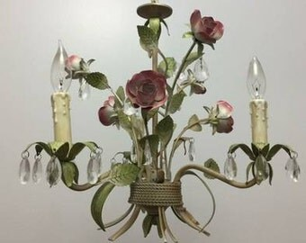 eclectic vintage rose flower and crystal - horchow chandelier