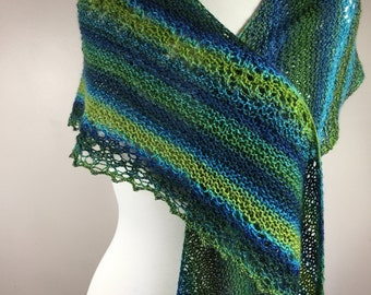 Hand knit scarf, multicolor scarf, lightweight scarf, bluish green scarf, lace scarf, feminine scarf, hand knit wrap, lightweight wrap