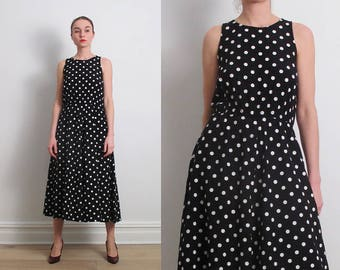 80s Black White Polka Dot Midi Dress / S