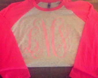 Next Level Pink Sleeves Pink Monnogram