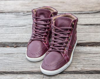 Women's leather sneakers / High Top sneakers / Leather shoes / Flat shoes / Comfortable Shoes / Designer Shoes