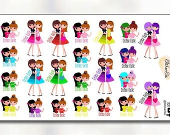 Sister Date Event Icon Planner Stickers