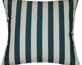 Sunbrella Mason Forest Green Indoor/Outdoor Striped Pillow