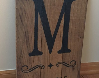Custom Wall Decor Wall Hanging Reclaimed Real Wood Stained Initial Marriage Family Established Sign Wedding