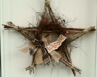 Star wreath - Primitive Wreath - Welcome Wreath - Twig Star - Front Door Decor - Primitive Star - Rustic Wreath - Rustic Star - Primitive -
