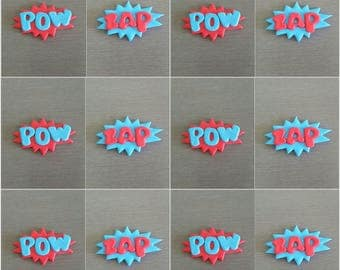 6 x POW & 6 x ZAP cupcake toppers, superhero cake decorations, edible Superhero toppers