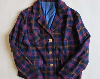 Vintage 1950 tartan jacket  Vintage french plaid jacket / Vintage british 1950  Jacket for child