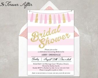 Bridal Shower Invitation, Wedding Shower Invite, Bridal Luncheon Invite, Baby Shower Invite, Pink and Gold Invite, DIY Printable