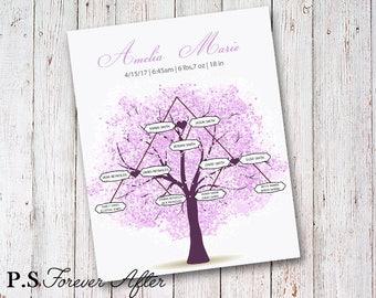 Printable Girl Birth Stats, Family Tree, Purple Birth Stat, Birth Stats Print, Wall Art For Nursery, Girl Nursery Decor,  Birth Announcement