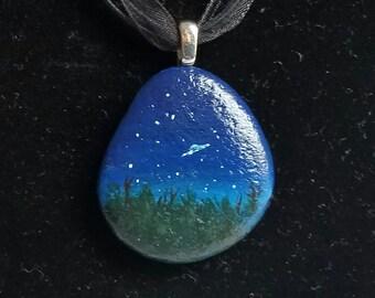 UFO Rock pendant necklace