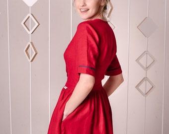 Flax dress, slow fashion dress, red flared dress, simple red dress, linen dress, red midi dress, red gown, knee length dress, red dress
