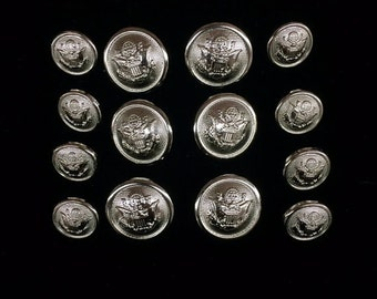 Silver EAGLE & STARS 14pc Double Breasted Shank Style Sport Coat Blazer Button Set