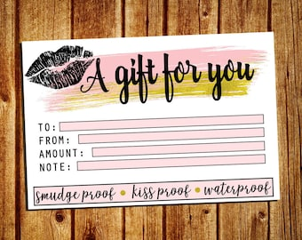 LipSense Gift Certificate Card - A Gift For You Card - Gift Card - SeneGence Marketing Card - Instant Download - YOU PRINT - 4x6