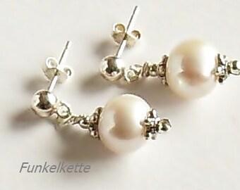 Earrings white freshwater Pearl Studs earrings white bridal jewelry wedding feast celebration feminine elegant versatile portable everyday gift
