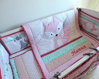 Woodland Nursery Bedding - Woodland Crib Bedding - Baby Girl Nursery Bedding Set - Baby Girl Fox Blanket - Personalised Baby Bedding - Minky