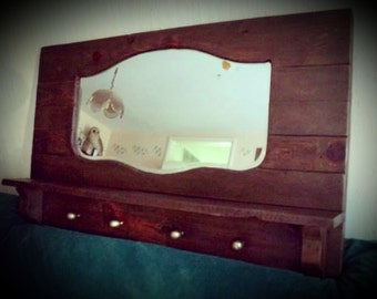 1940s Wood pallet mirror shelf