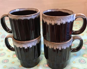 Set of 4 Vintage Stackable Brown Drip Glaze Mugs ~ Stoneware Mugs ~ Coffee Mugs ~ Japan