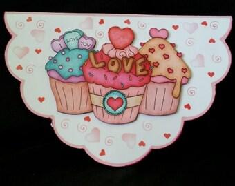 Cupcake Love 3D Pop Up Greeting Card-Cupcake Birthday-3D Decoupage-Pop Up Card-Lots of Love-Handmade Greeting Card