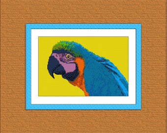 Pattern cross stitch Parrot Instant Download, Cross Stitch Parrot, Needlework Parrot, Needlecraft Parrot, Embroidery Parrot, Digital #017