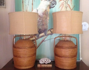Vintage Woven Wicker Chinese Wedding Basket Lamps
