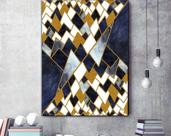 Geometric Print , scandi style art , Gold Modern Art , Geometric mountain , Modern wall prints , Large Print , Scandinavian Art , Abstract