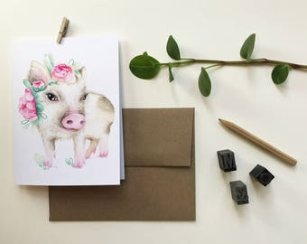 Palmetto pig greeting card / greeting card / pig Easter / animal Portrait Crown flowers / Katrinn Pelletier / Katrinn Illustration