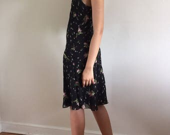 Vintage Black Floral Silk Chiffon Slip Dress / Bias Cut 100%  Silk Dress