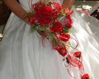 Red wedding Bouquet preserved flowers, Keep Your Bride Bouquet, Preserved Natural Flowers, red bridal bouquet,