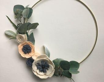 Modern Felt Flower Wreath  // Spring Wreath // Boho Wreath // Modern Wall Hanging by G & Tea