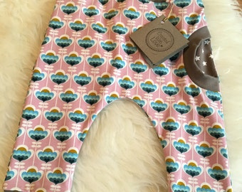 Pants 74/80 baby girls retro flowers pink turquoise