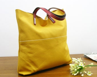 LEATHER TOTE BAG - Leather Tote,  Tote Bag,  Shoulder Bag, Handmade Leather Tote Bag , Large Leather Bag , Top Zip Yellow Leather Bag