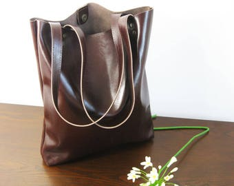 BROWN LEATHER TOTE, Leather tote, Simple leather bag,  Leather Tote Bag, Office bag,  Brown Leather Shoulder Bag,