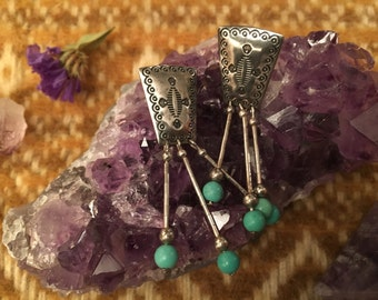 Sterling Silver Turquoise Native Earrings