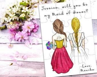 Maid of Honor Puzzle Invitation, Maid of Honor Proposal Puzzle, Will You Be My Maid of Honor, Will you be my Bridesmaid Puzzle Invitation
