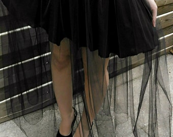Long style black tulle skirt Gothic witch evening event