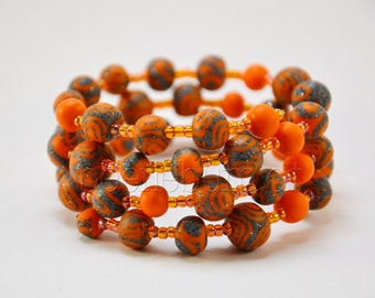 "Spiral bracelet ""Helia"", orange grey"