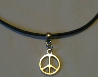 Peace Symbol Charm Necklace