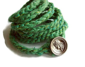 Bracelet wrap, Green bracelet, Crochet wrist wrap, Knit jewelry, Simple knit jewelry, Multi Strand Bracelet, Knit Bracelet, handknit braclet