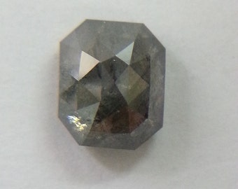 1.51 CT Natural Black Emerald Shape Sparkling Rustic Diamond