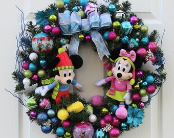 Disney Inspired Wreath, Mickey and Minnie Wreath, Lighted Wreath, 24 Inch wreath