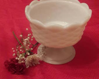 White Milk Glass pedestal bowl candy dish quilted