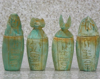 Very unique  canopic jars, collectable set of 4 jars hand made from lime stone