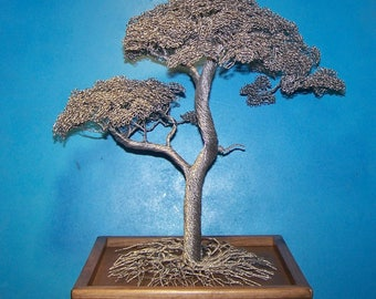 Double Twist Wire Tree Sculpture