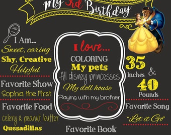 Disney Princess Chalkboard Birthday poster. Beauty and the Beast party decor