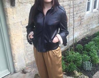 Ann Taylor USA black leather jacket
