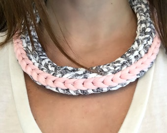 Chevron Necklace - chunky necklace, funky jewelry, fabric statement necklace, art necklace, pink necklace, bold necklace, upcycled necklace