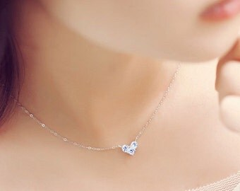 Thanks silver necklace 925 heart woman love zircon crystals