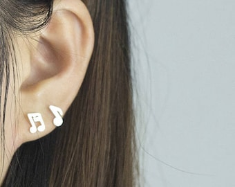Earrings music notes silver plated harmony jewelry women minimalist elegant fashion trendy
